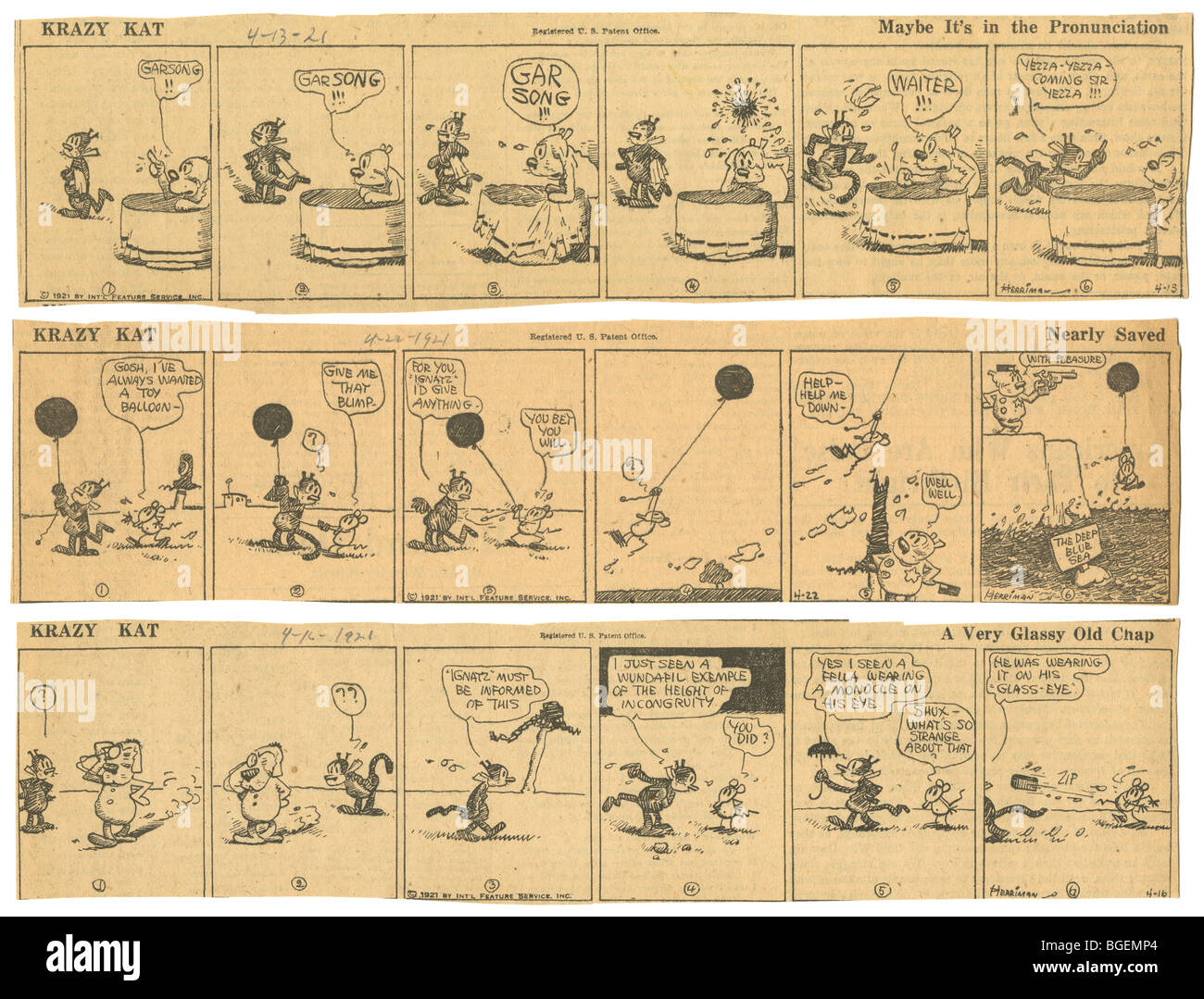 Three original April 1921 Krazy Kat daily comic strips by George Herriman. - Stock Image