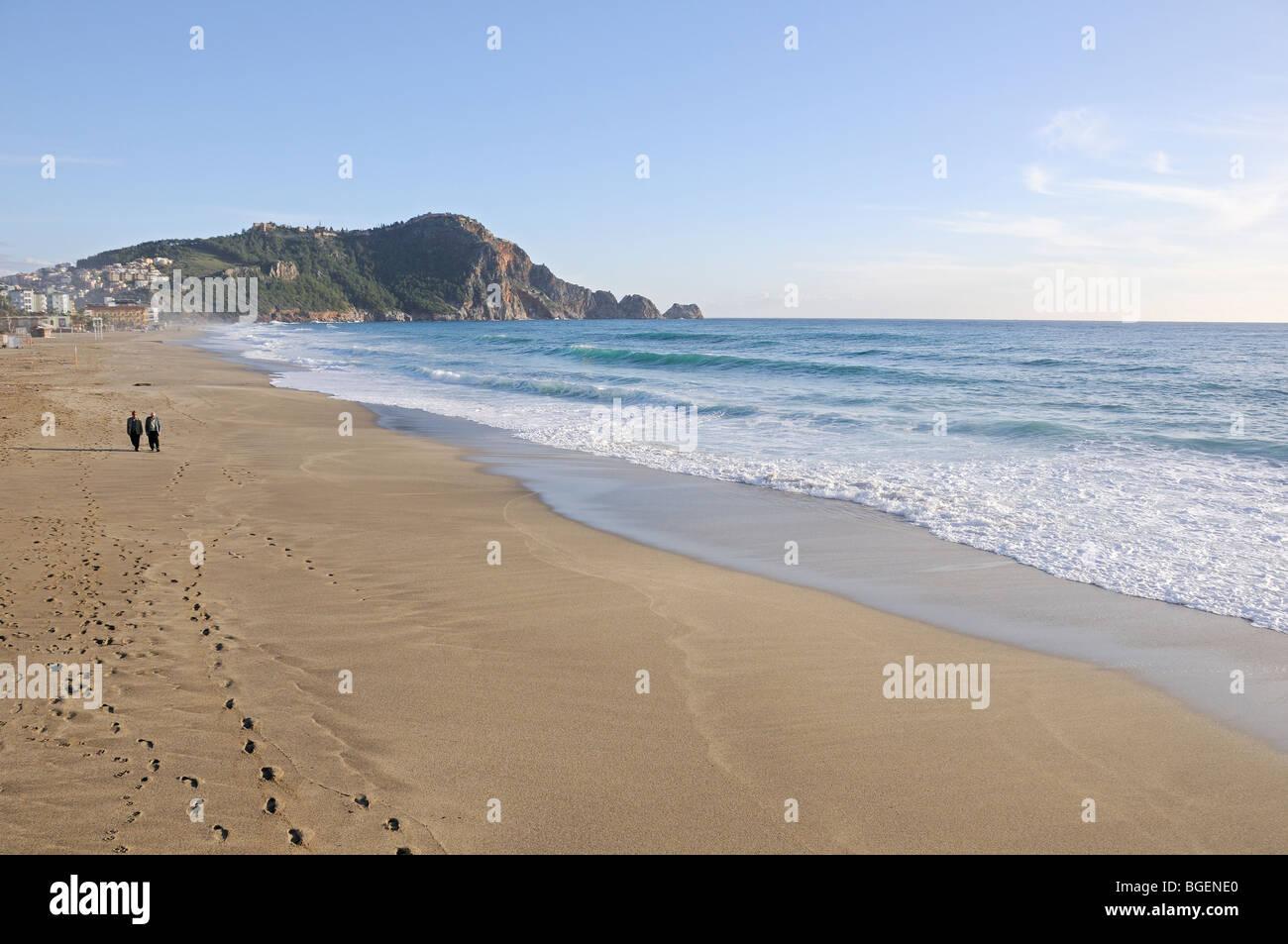 people walking at the Cleopatra Beach of Alanya, Turkey, Türkiye, Alanya, Mediterranean Sea - Stock Image