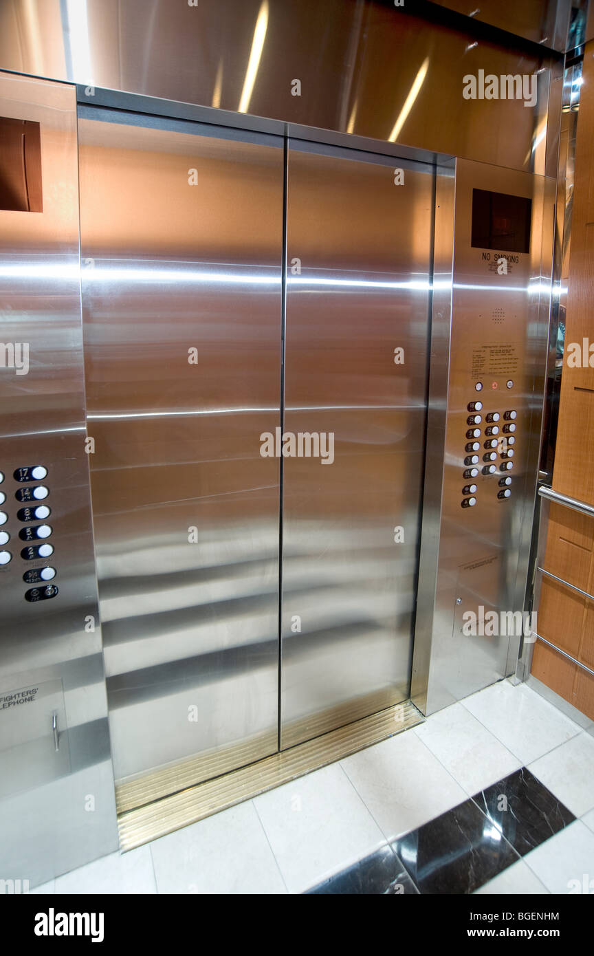 Inside Elevator, Door, Chicago, USA - Stock Image