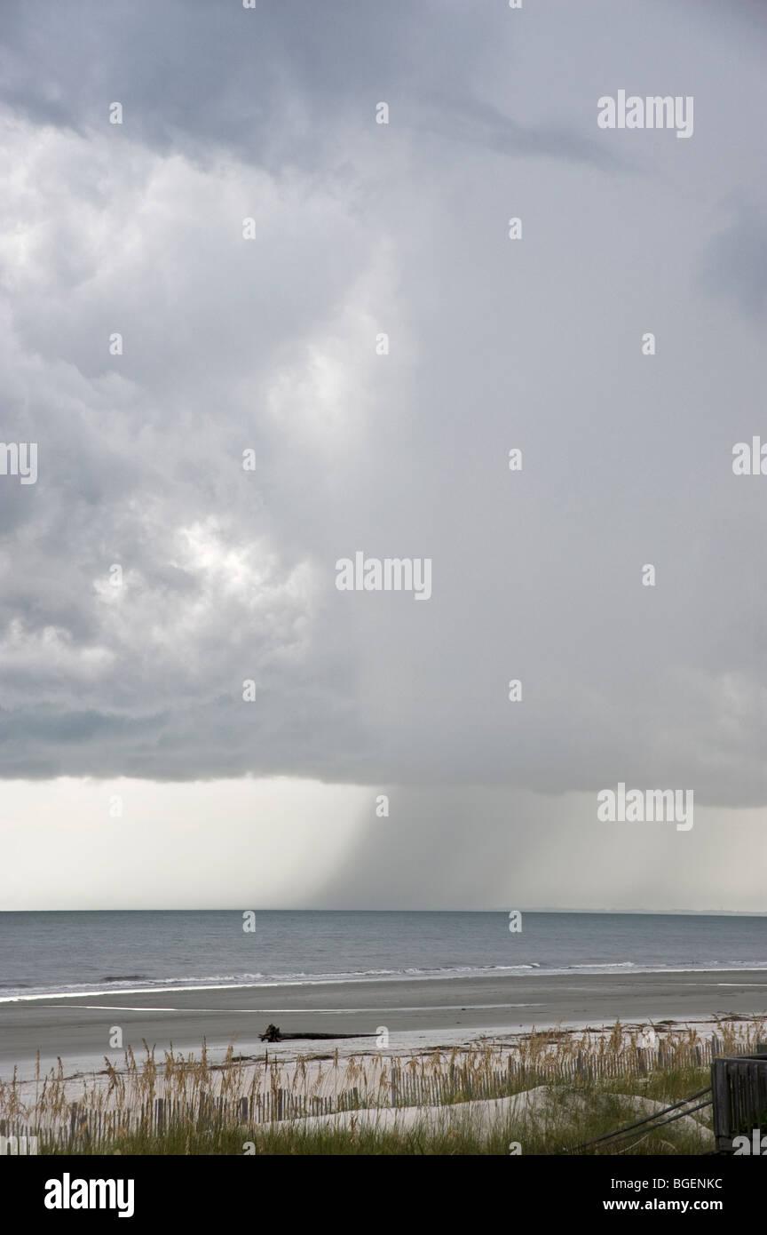 Rain Storm Squall Clouds, Hilton Head Island, USA Atlantic Ocean - Stock Image