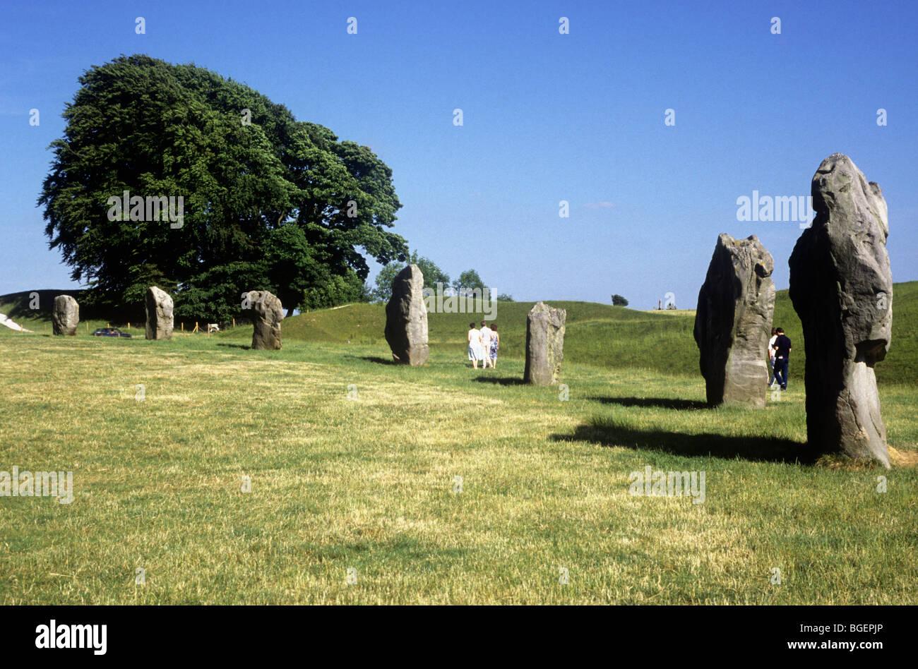 Avebury Wiltshire English prehistoric prehistory stone circle circles England UK sarsen stones religion religious - Stock Image