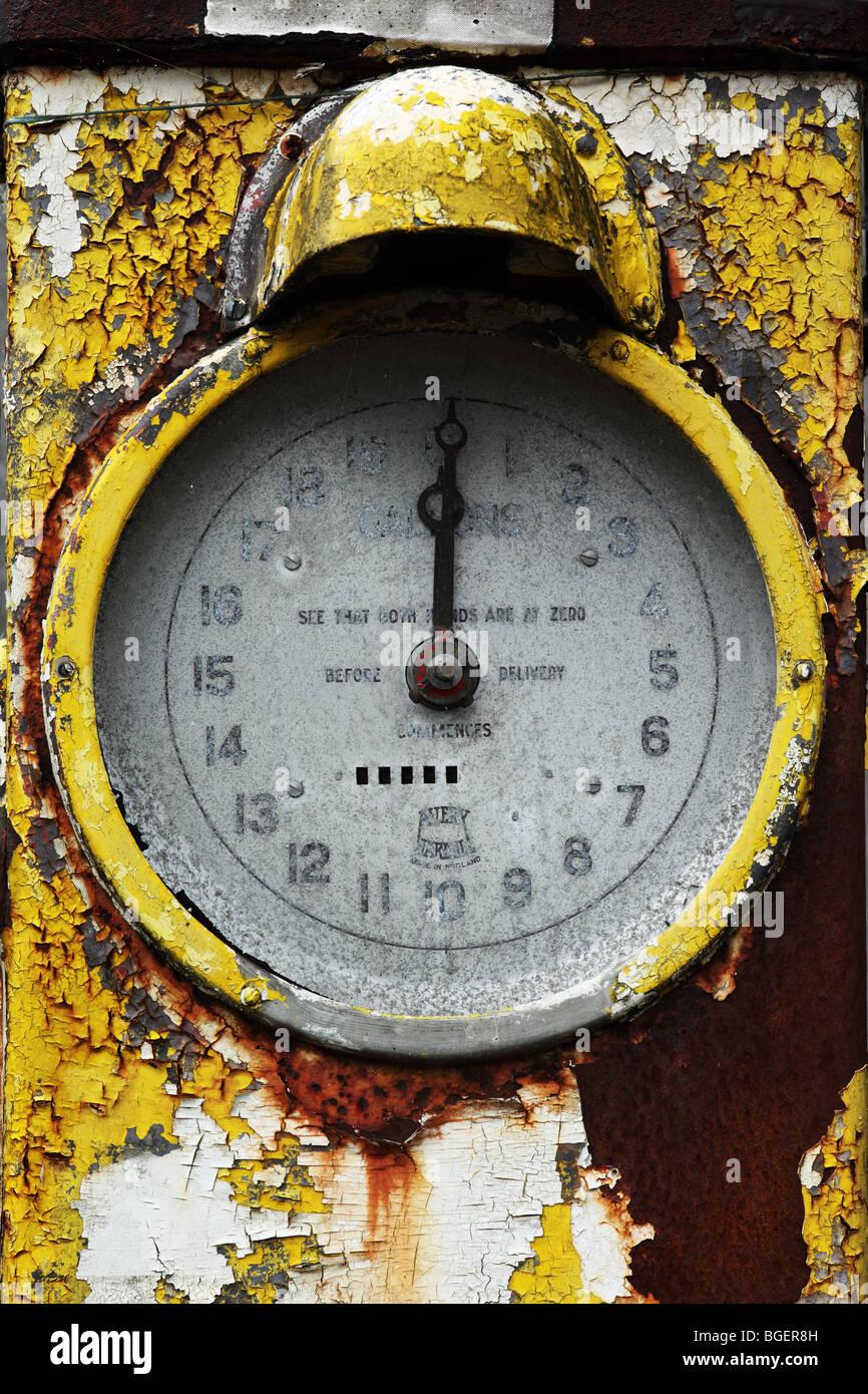 Old unused Petrol Pumps,  Steeple Ashton, Wiltshire,, England - Stock Image