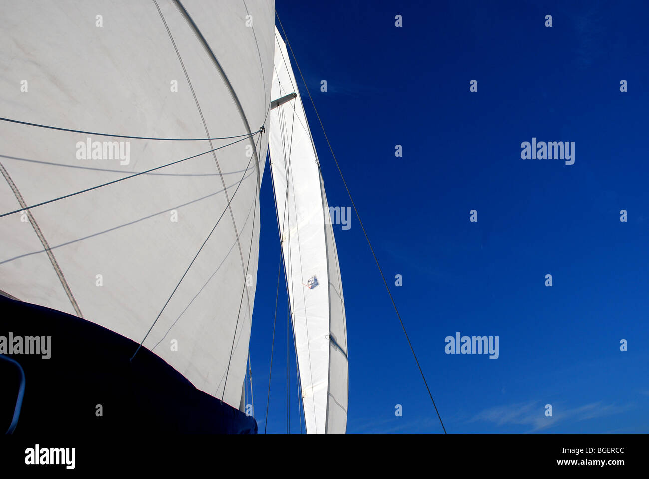Sails up on Gulf of Mexico, USA, 2010 - Stock Image