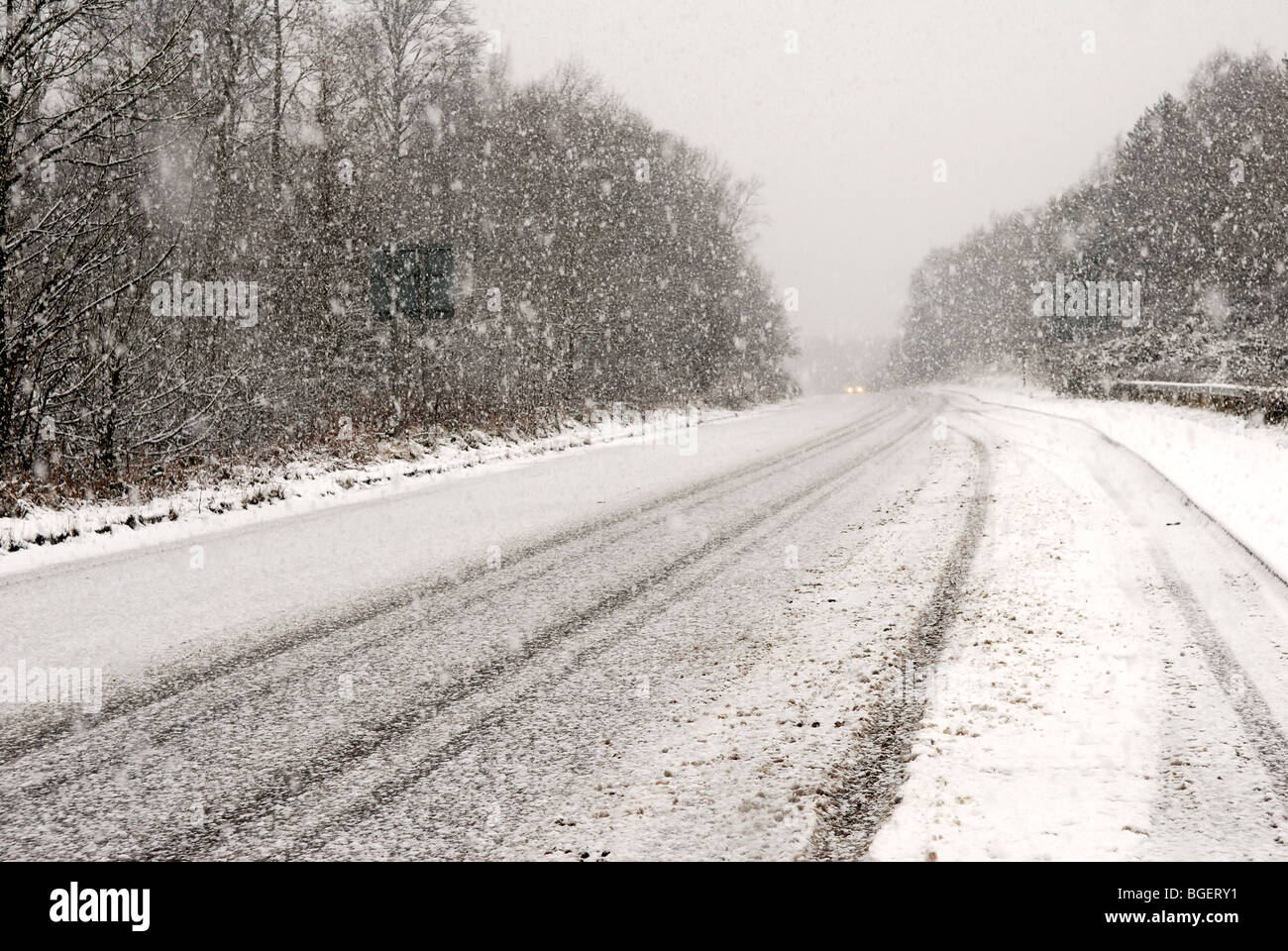 Road Sign Winter Conditions. - Stock Image