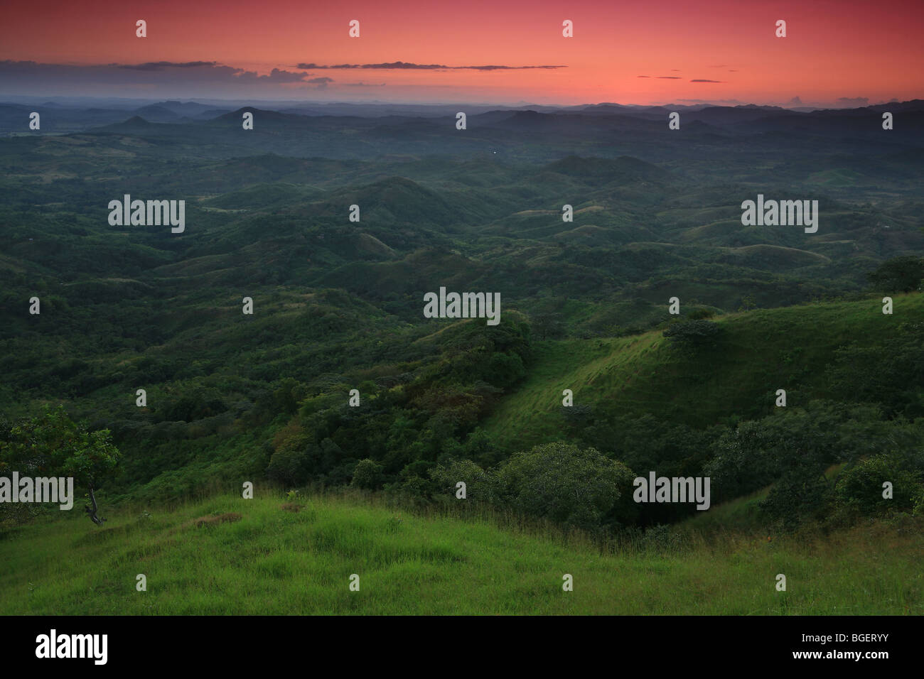 Green fields and hills near Ola, Cordillera Central, in the Cocle province, Republic of Panama. - Stock Image