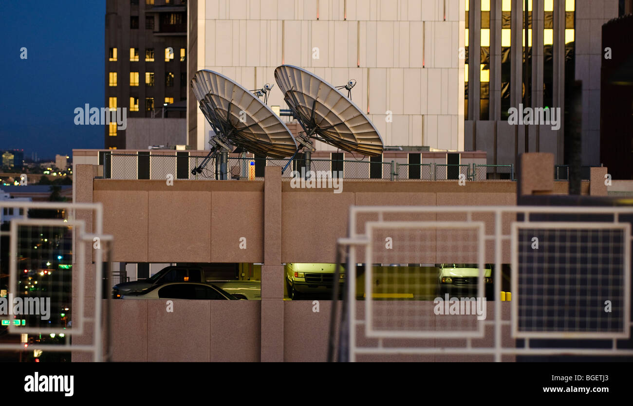 Satellite Dishes On Top Of A Downtown Phoenix Parking Garage Stock