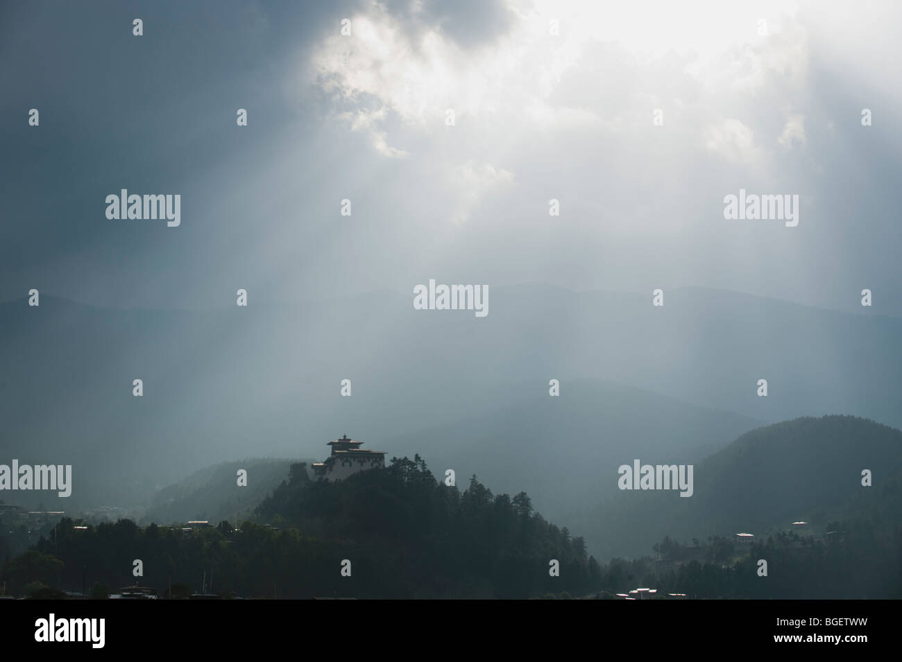 Clearing Storm over Jakar Dzong, Bumthang Valley, BHUTAN - Stock Image