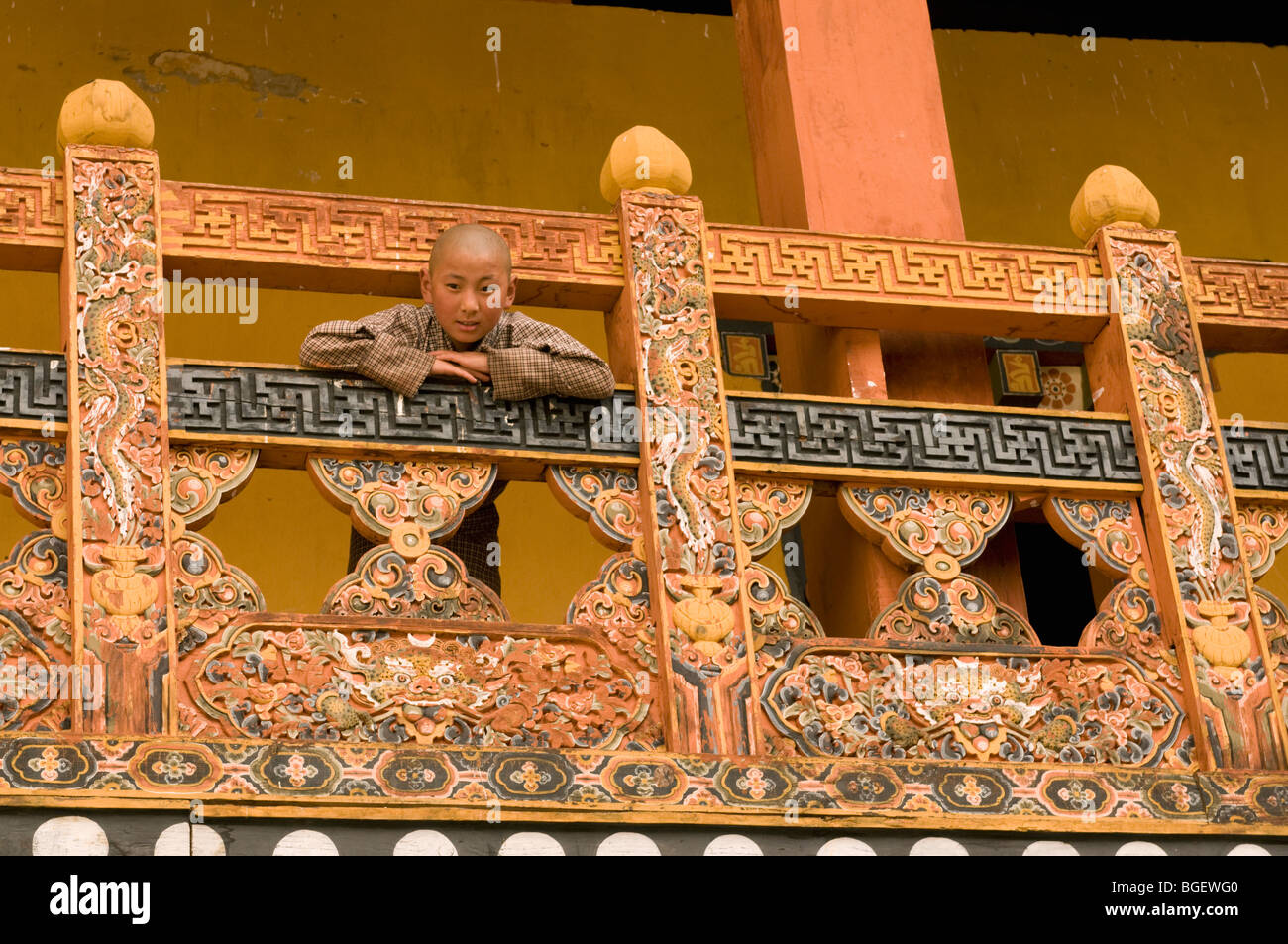 Boy in Punakha Dzong Monastery, BHUTAN - Stock Image
