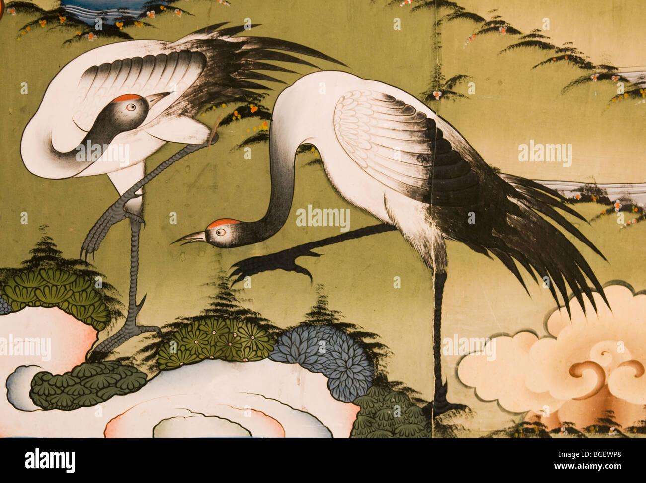 Crane painting, Buddhist Monastery Murals, Punakha Dzong, BHUTAN - Stock Image