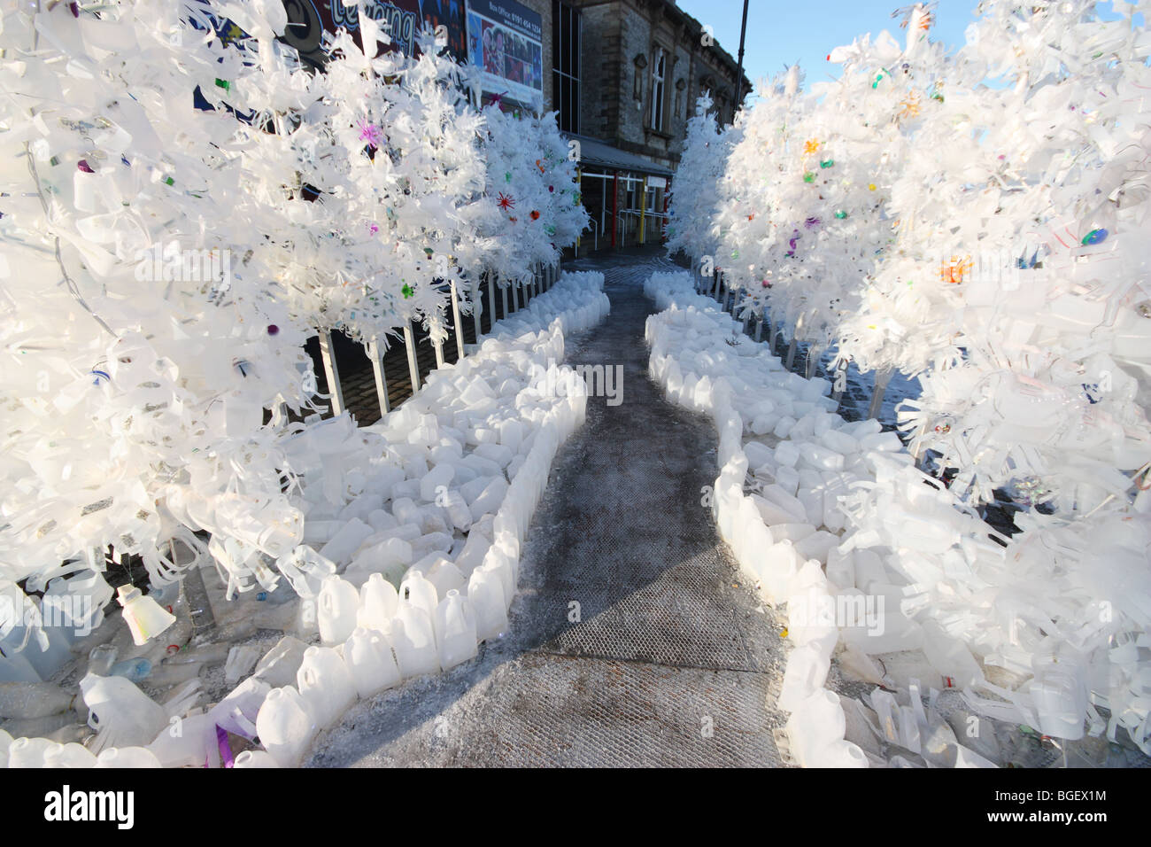 Winter Wasteland - a sculpture made from discarded plastic bottles at the Customs House, South Shields, England, - Stock Image