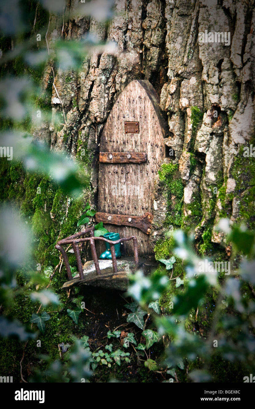 A Fairy Door In A Magical Woodland Tree Stock Photo