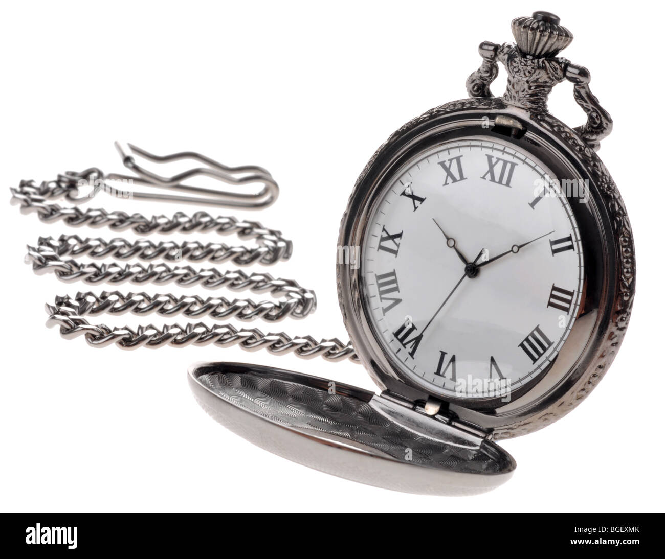 """pocket watch"" and chain, watch, clock, time - Stock Image"