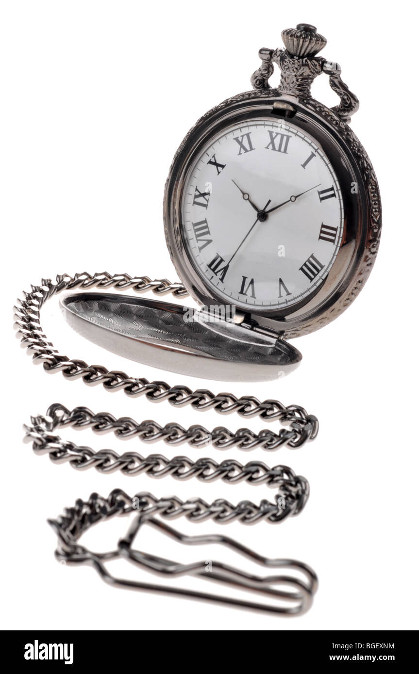 """""""Pocket watch"""" and chain, antique watch, clock, time - Stock Image"""