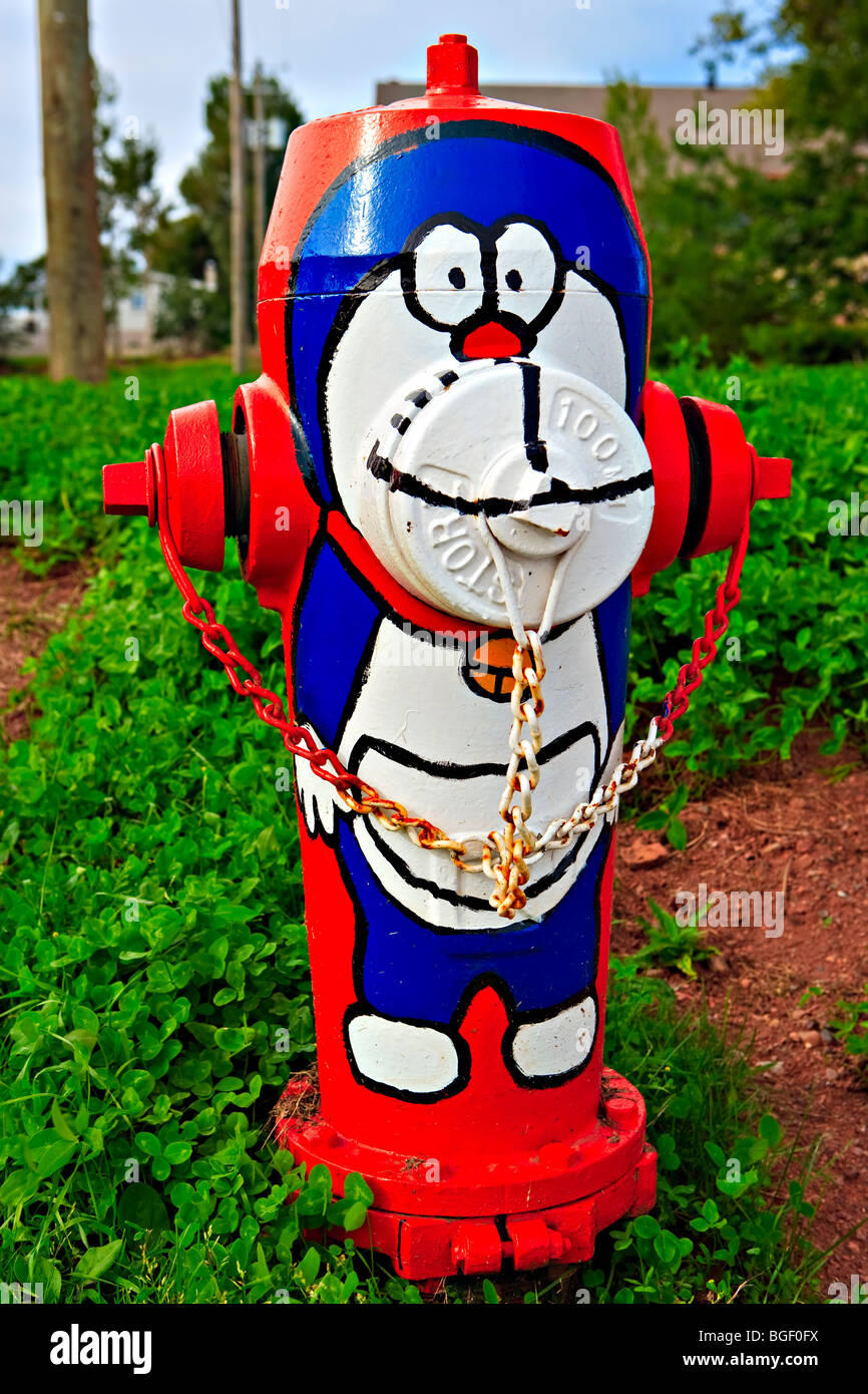Decorated Fire Hydrant along highway 132 in the town of New Carlisle, Gaspesie, Gaspesie Peninsula, Bay of Chaleur, Quebec, Cana Stock Photo