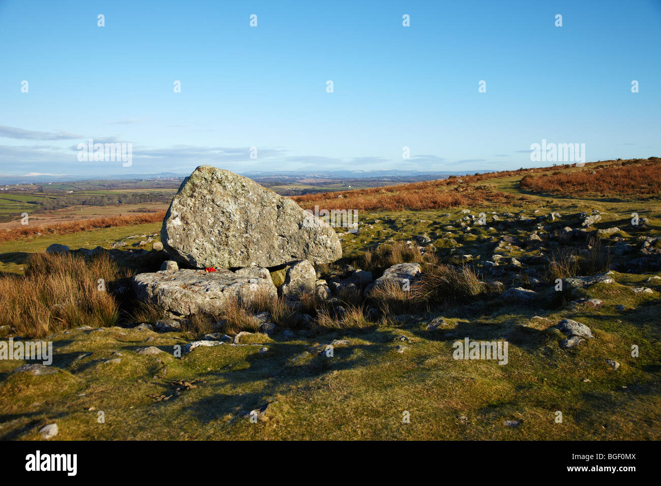 Arthur's Stone on Cefn Bryn, Gower, South Wales, UK. Arthur's Stone is a neolithic burial chamber or a Cromlech - Stock Image