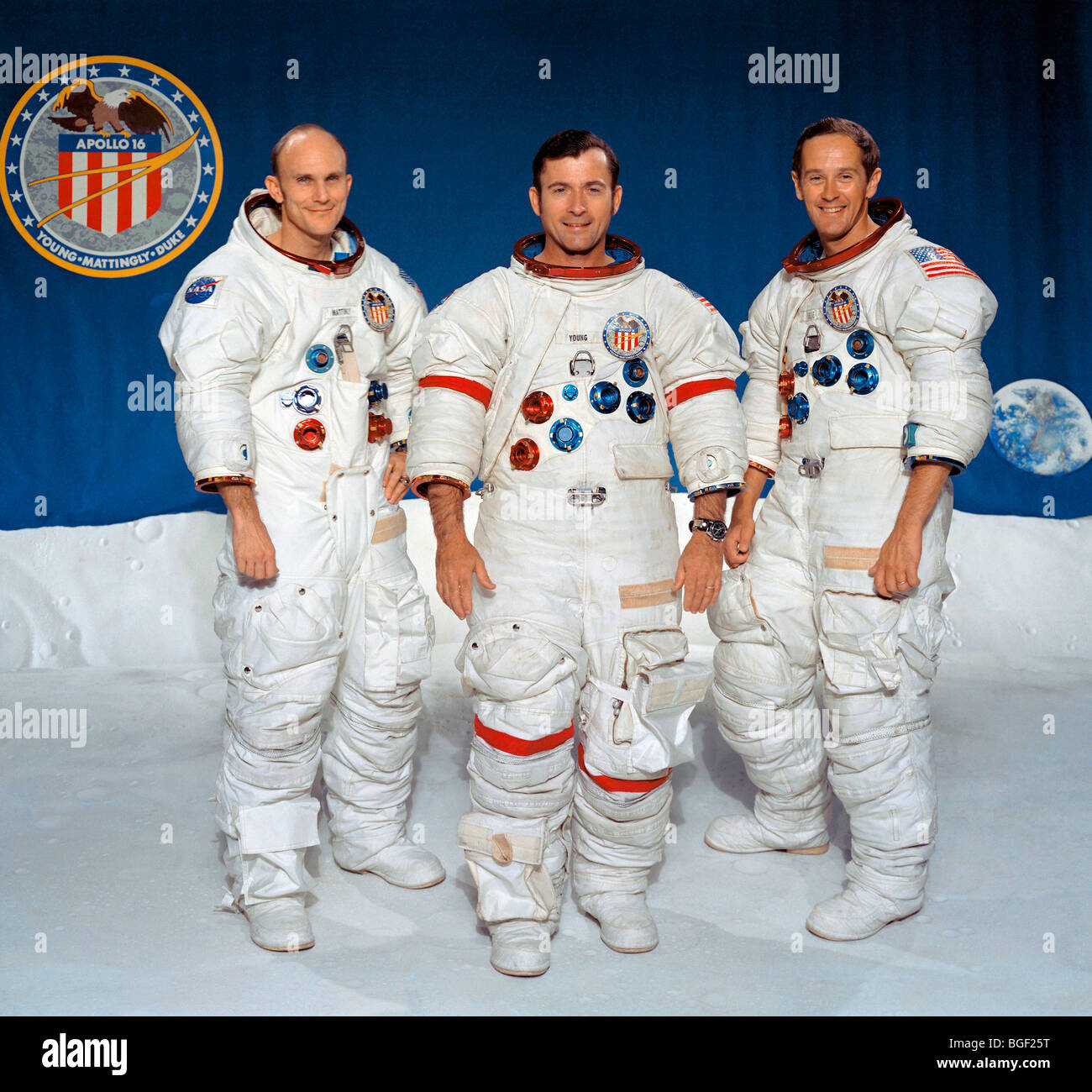 Apollo 16 prime crew, left to right, Thomas K. Mattingly II, John W. Young and Charles M. Duke Jr. Stock Photo