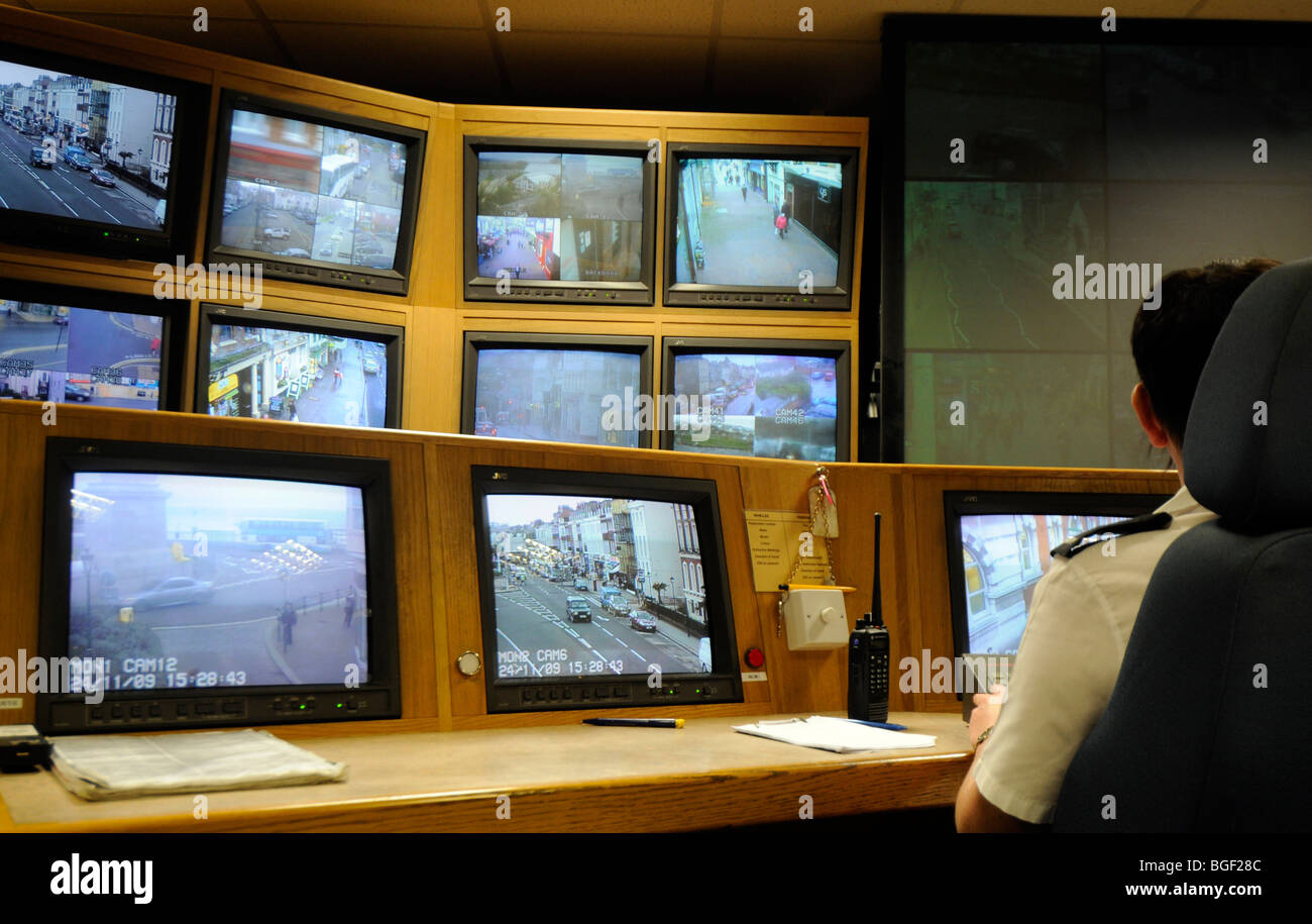 CCTV control room, Britain, UK - Stock Image