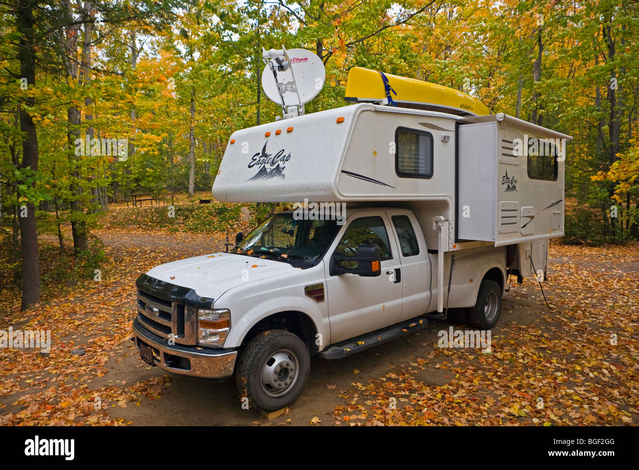 Hicker Camper at Kettle Point Campground in Restoule Provincial Park, Ontario, Canada. - Stock Image