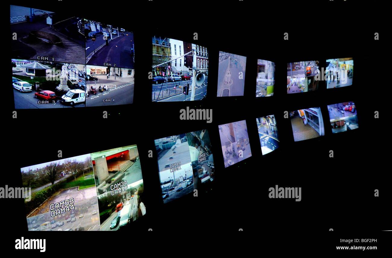 CCTV control room tv screens, Britain, UK - Stock Image