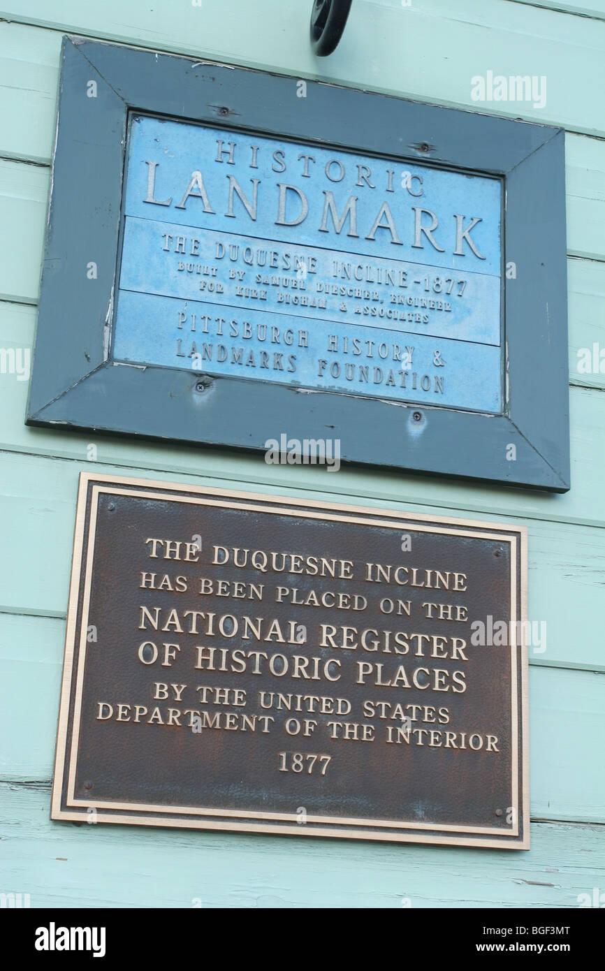 Duquesne Incline Railway Historic Marker. Pittsburgh, Pennsylvania, USA. - Stock Image