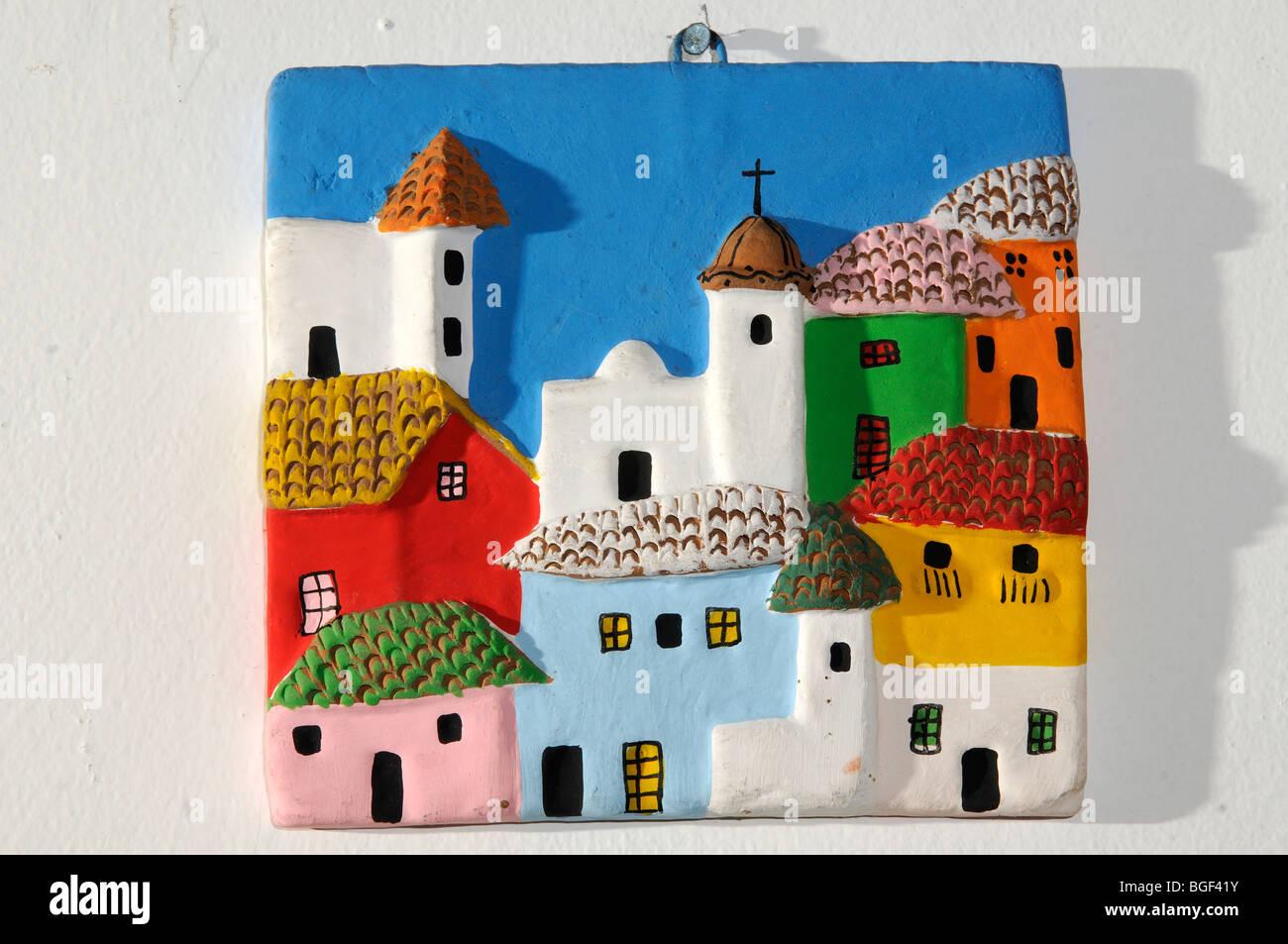 ceramic plaque from Quito, Ecuador - Stock Image