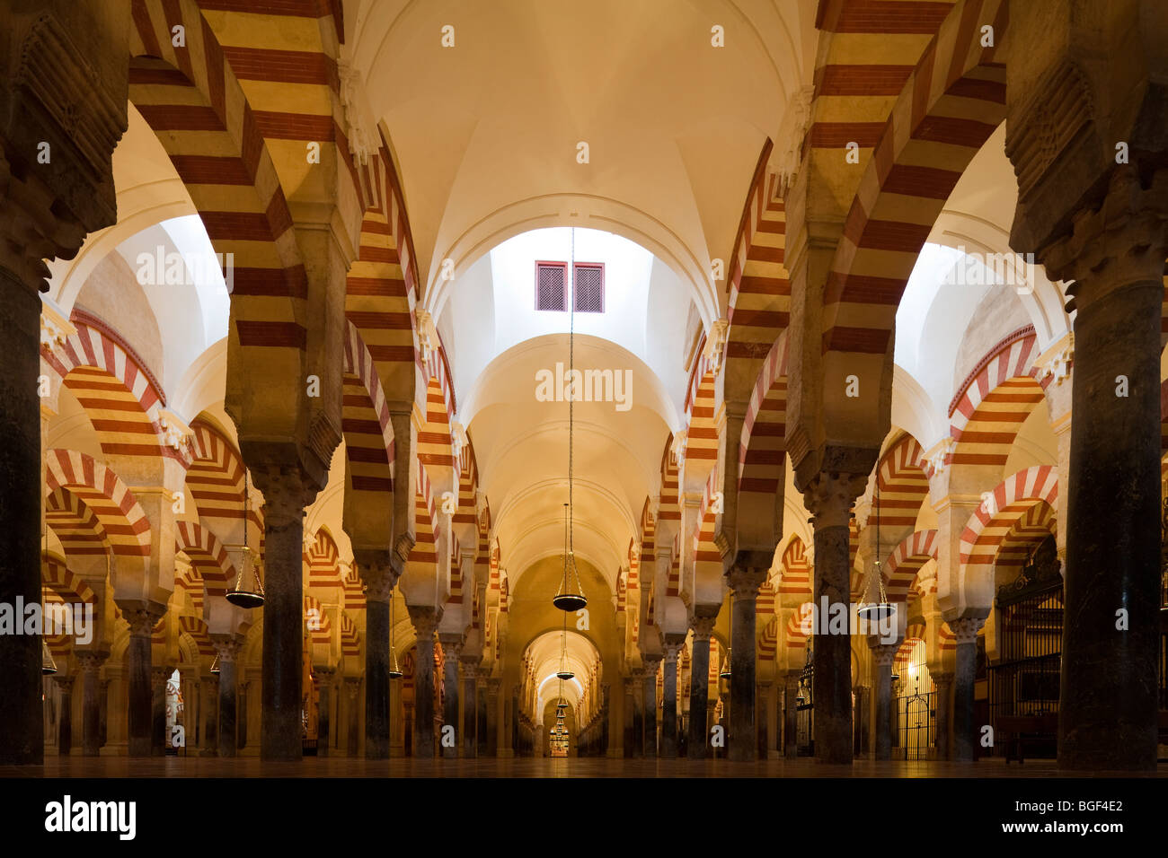 arches of prayer hall, Great Mosque of Cordoba, Andalusia, Spain - Stock Image