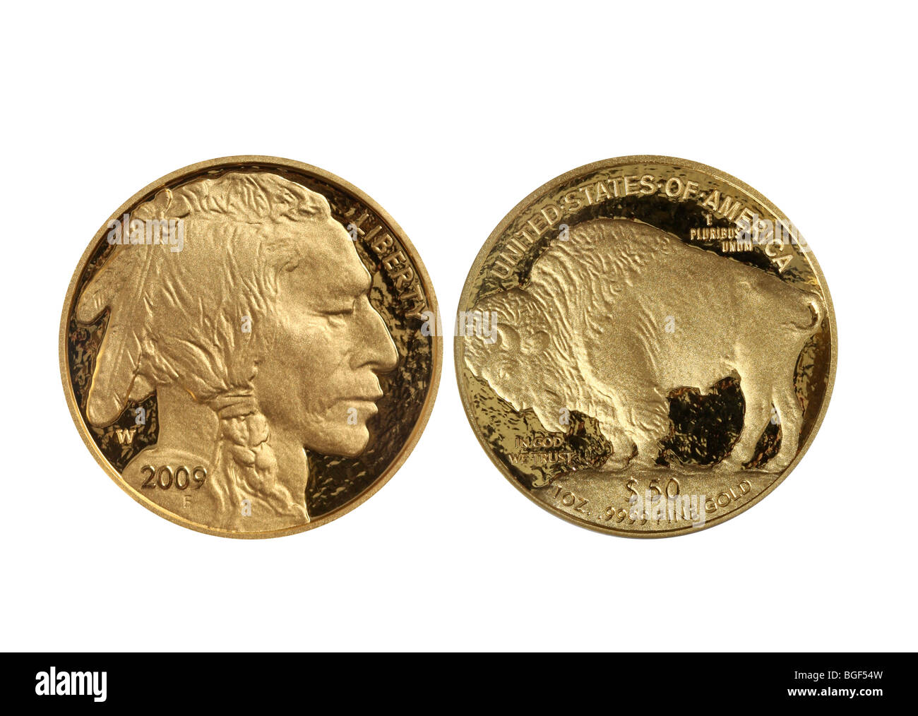 Front and back of the 2009 Proof Gold Buffalo .9999 fine coin. - Stock Image