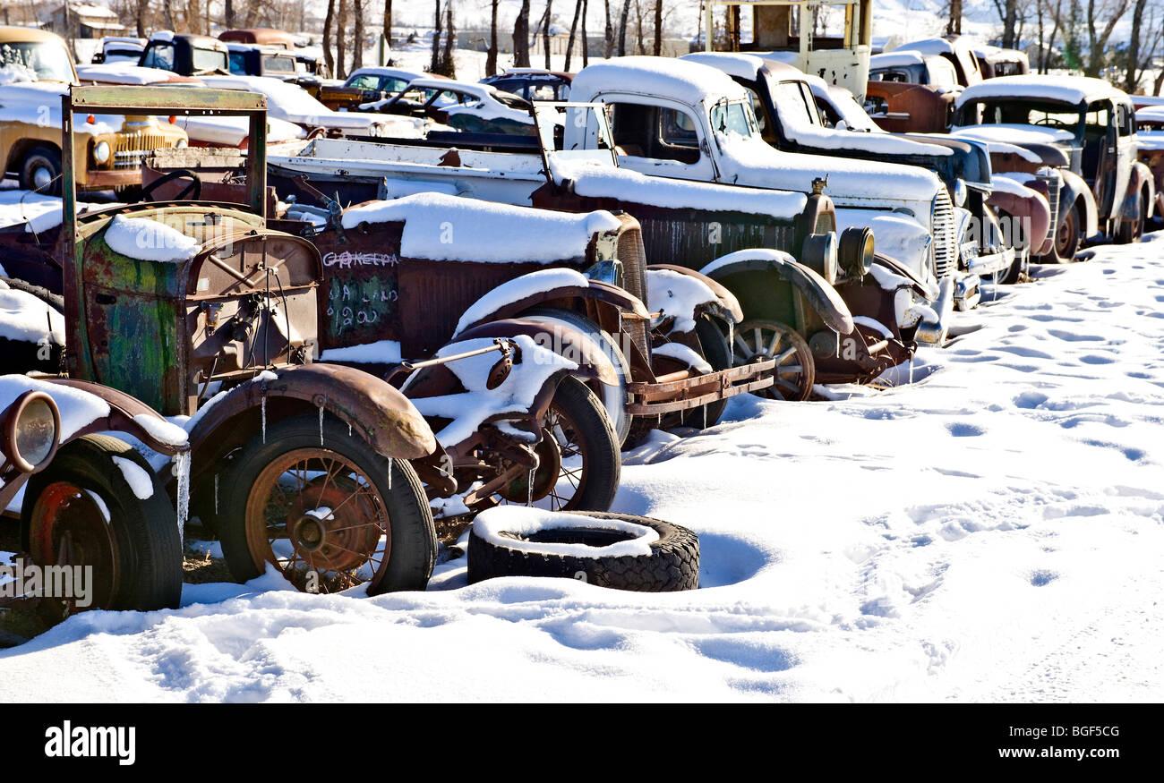 Snowy Junkyard - Stock Image