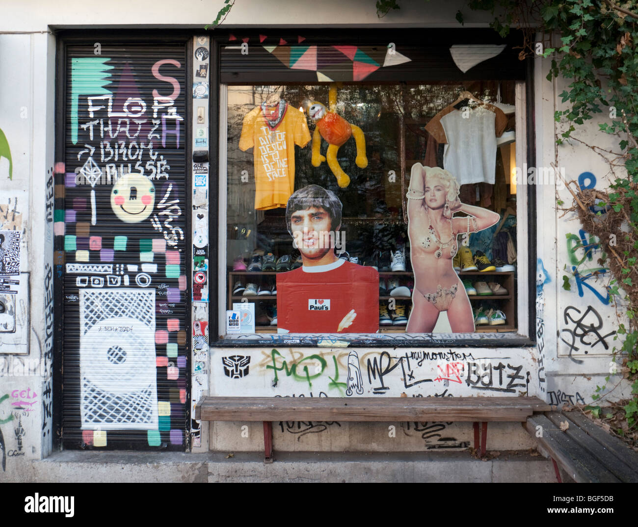 Detail of window display of trendy fashion boutique in bohemian district of Prenzlauer Berg in Berlin Germany - Stock Image