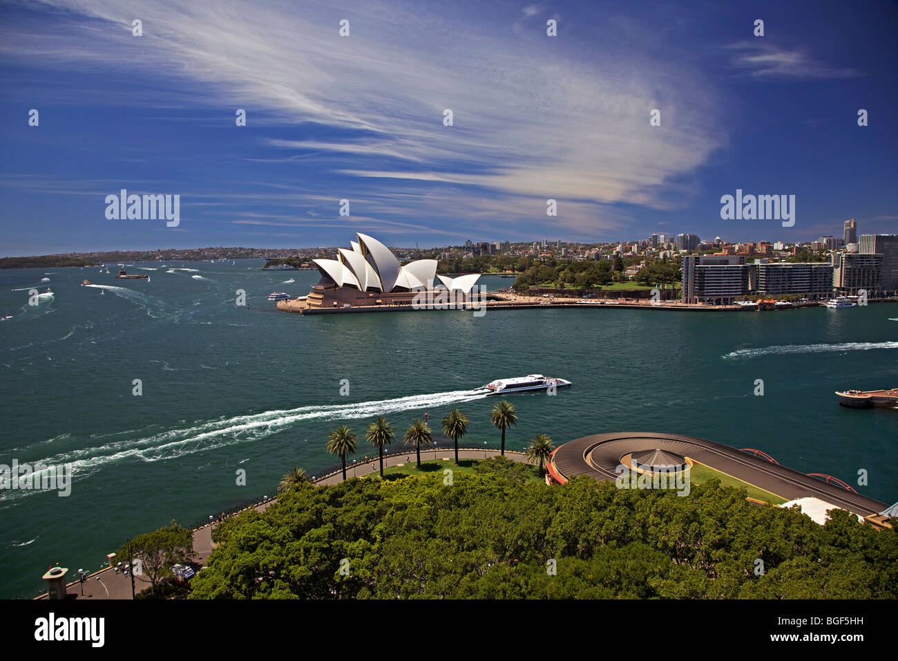 View from Harbour Bridge of Opera House and Circular Quay, Sydney, Australia - Stock Image