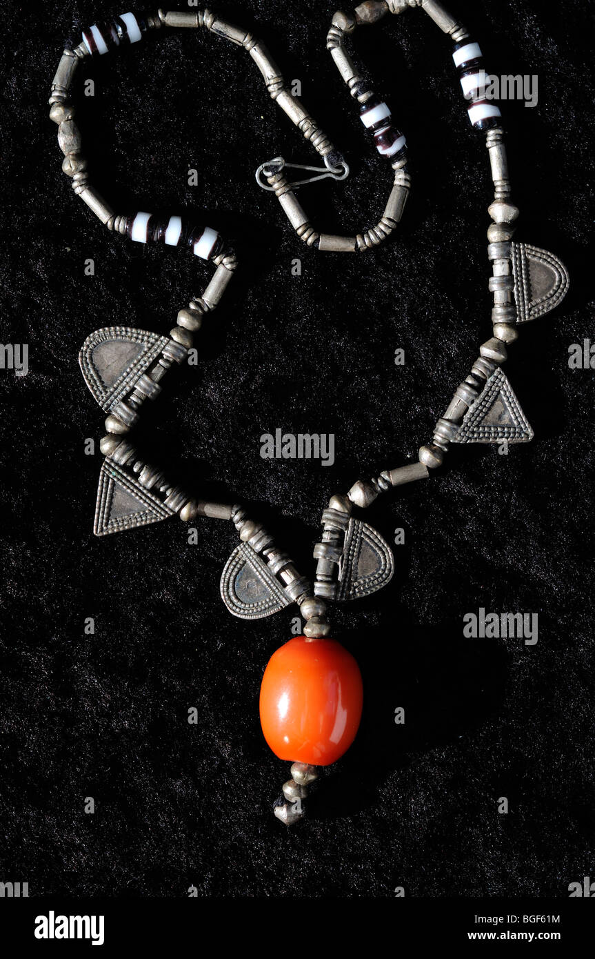 necklace with genuine amber from Ethiopia - Stock Image