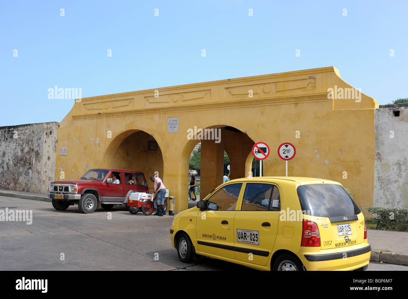 entrance and exit to centuries-old walled city Cartagena, Colombia, South America Stock Photo