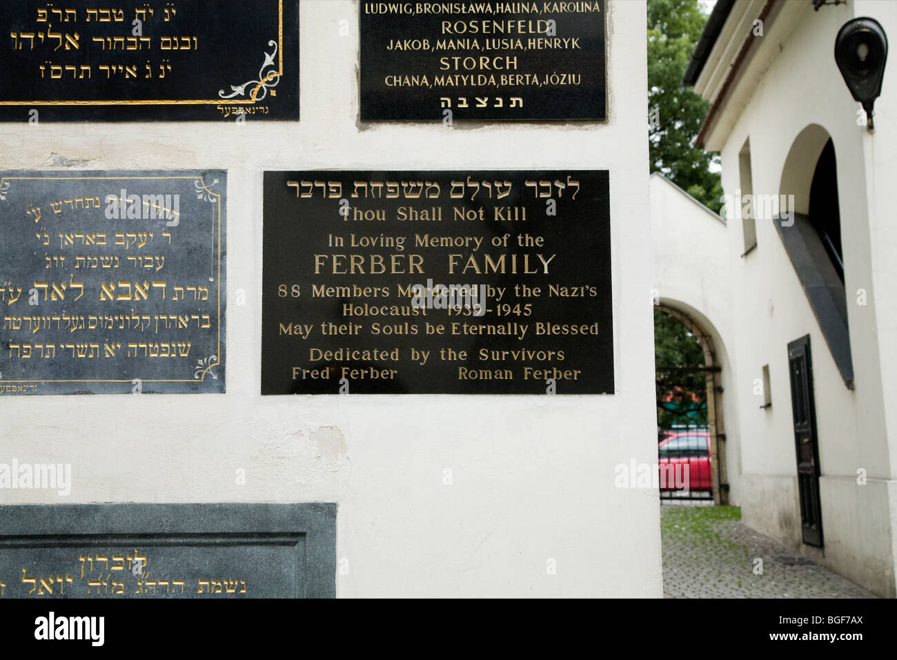 Memorial plaques at the Remuh Synagogue (Synagoga Remuh) to the jewish victims of the Nazis. Kazimierz, Krakow. Stock Photo