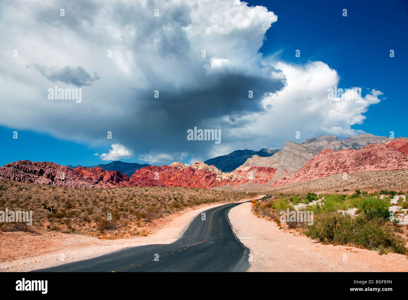 Road and thunderstorm clouds with Rock formations in Red Rock Canyon National Conservation Area, Nevada - Stock Image