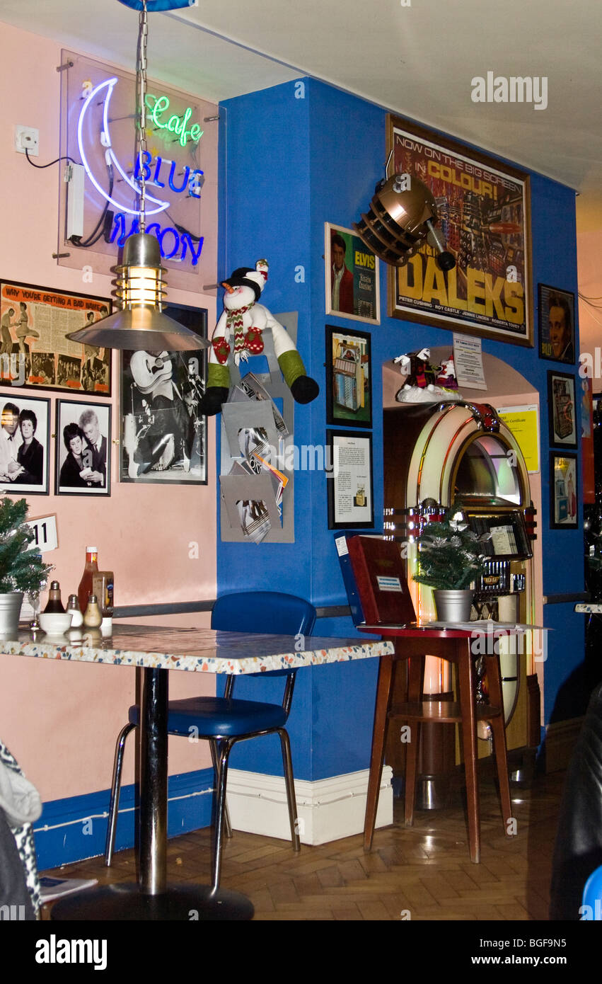 Blue Moon Cafe, A 50s 60s Coffee Bar Styled Cafe With Juke Box, Memorabilia  Etc. Chester, UK