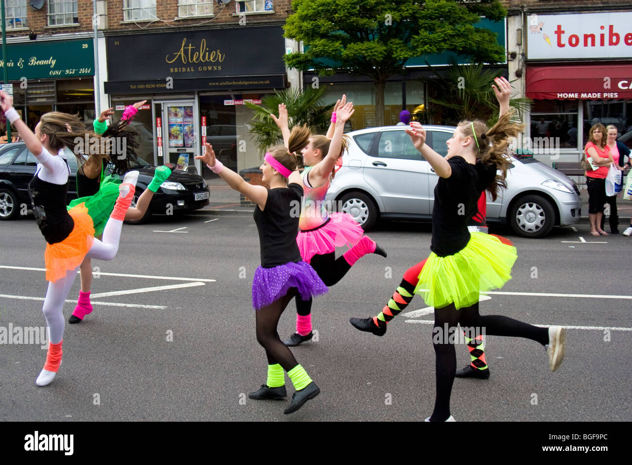 Dancers from academy of dance and performing arts in Borehamwood carnival parade, Borehamwood, Hertfordshire, UK - Stock Image