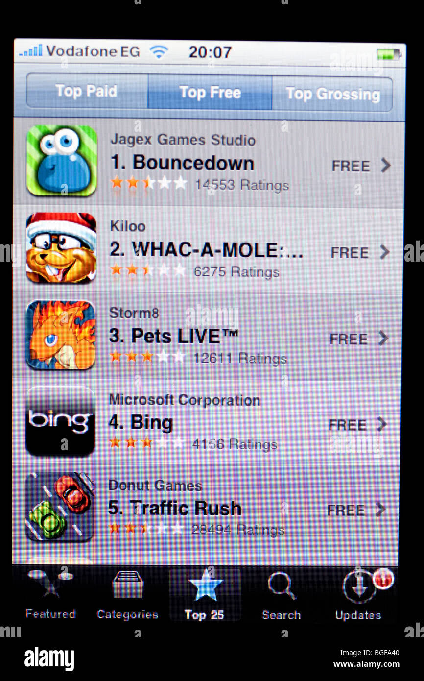 screen of Apple iPhone showing favourite free apps - Stock Image