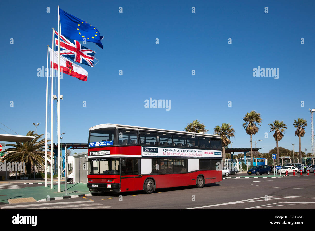 Red Double Decker Bus, Gibraltar - Stock Image
