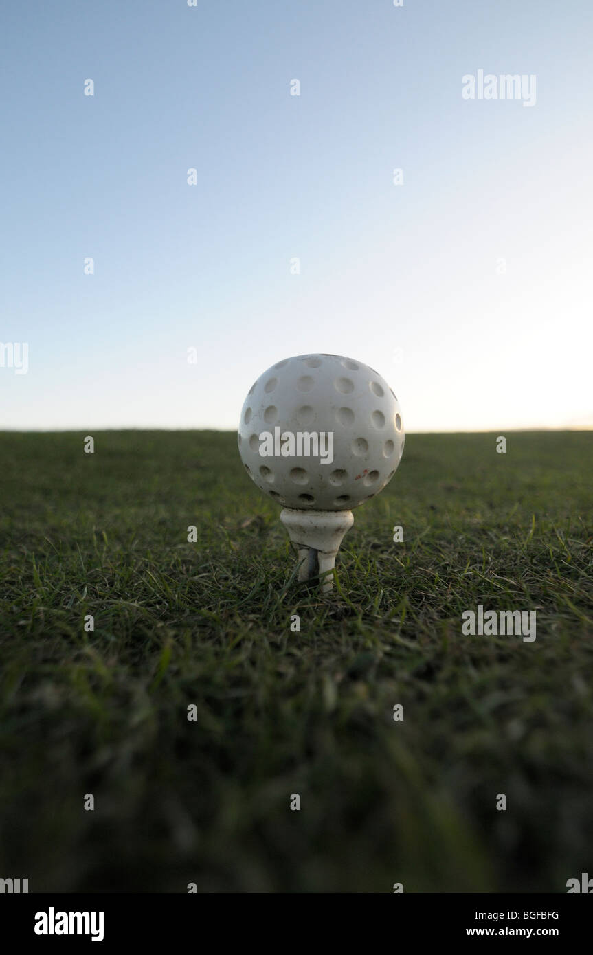 Golf tee marker on a golf course teeing ground - Stock Image