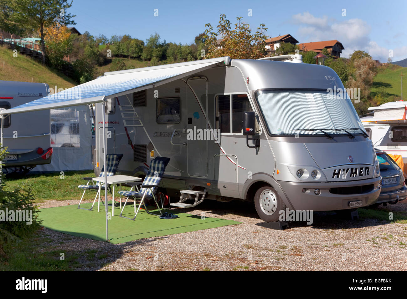 Hymer Camper van at Camping in Northern Italy - Stock Image