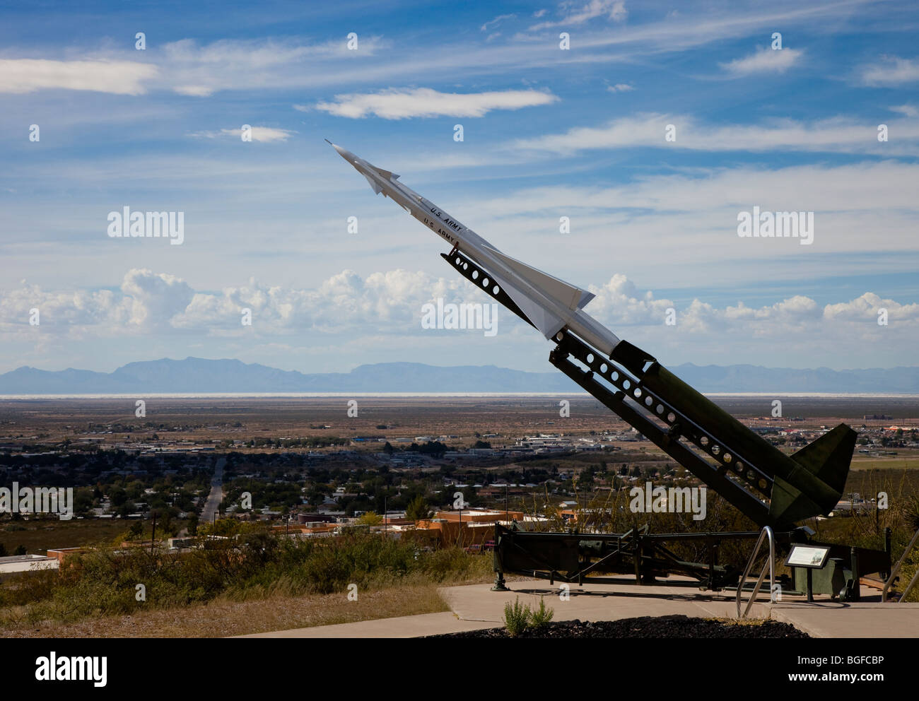 A missile on display at the Space Museum in Alamogordo, New Mexico, USA - Stock Image