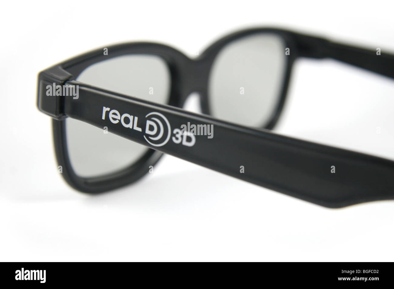 Real D 3-D glasses, used to view James Cameron's Avatar. - Stock Image
