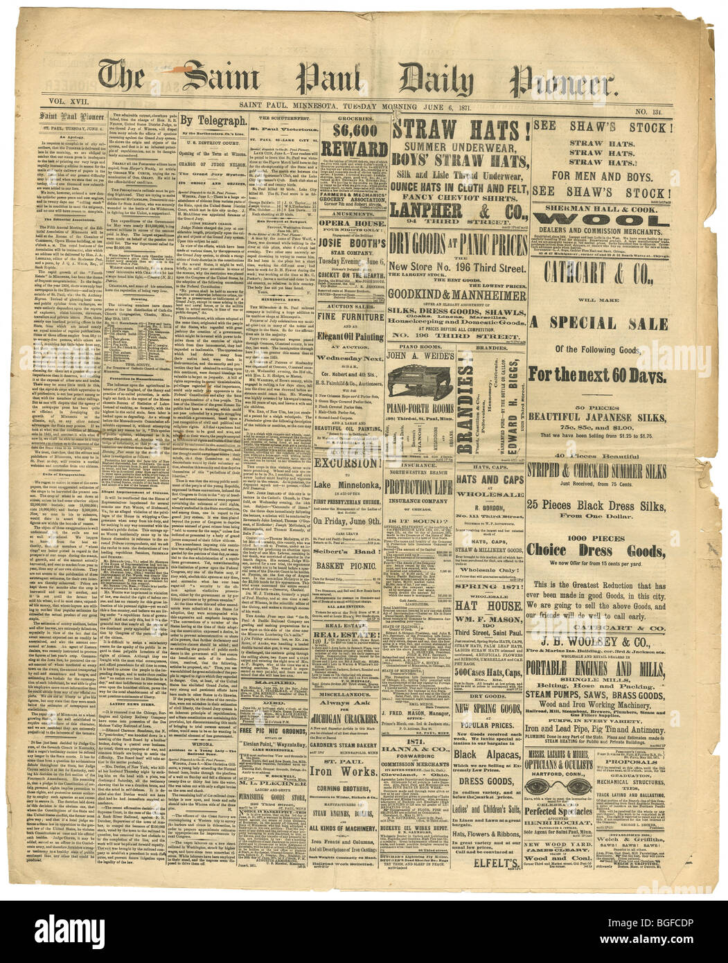 Front page of The Saint Paul (Minnesota) Daily Pioneer newspaper, Tuesday, June 6, 1871. - Stock Image
