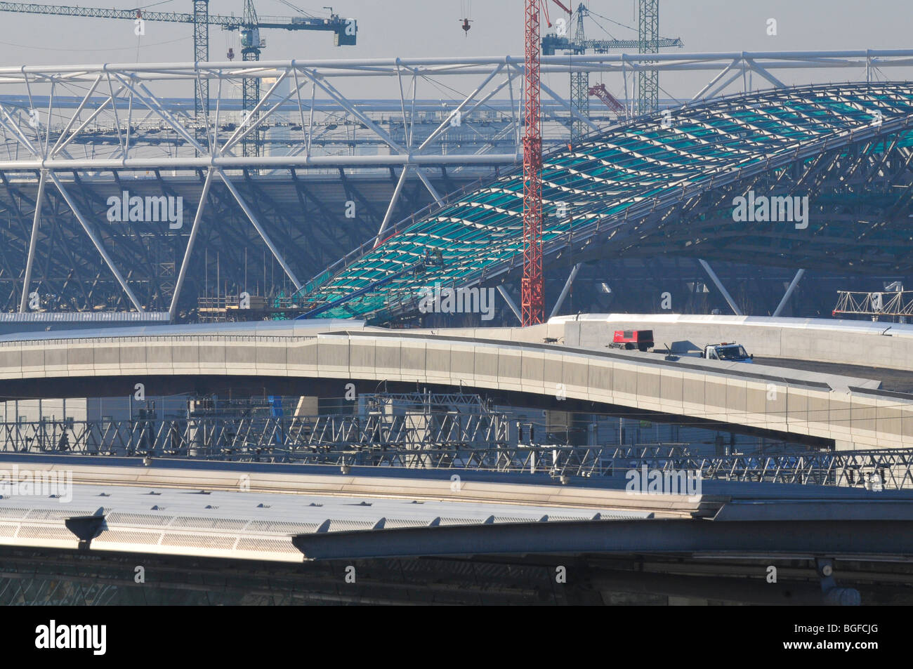 View of the 2012 Olympic Stadium and Aquatics Centre Under Construction, January 2010 - Stock Image