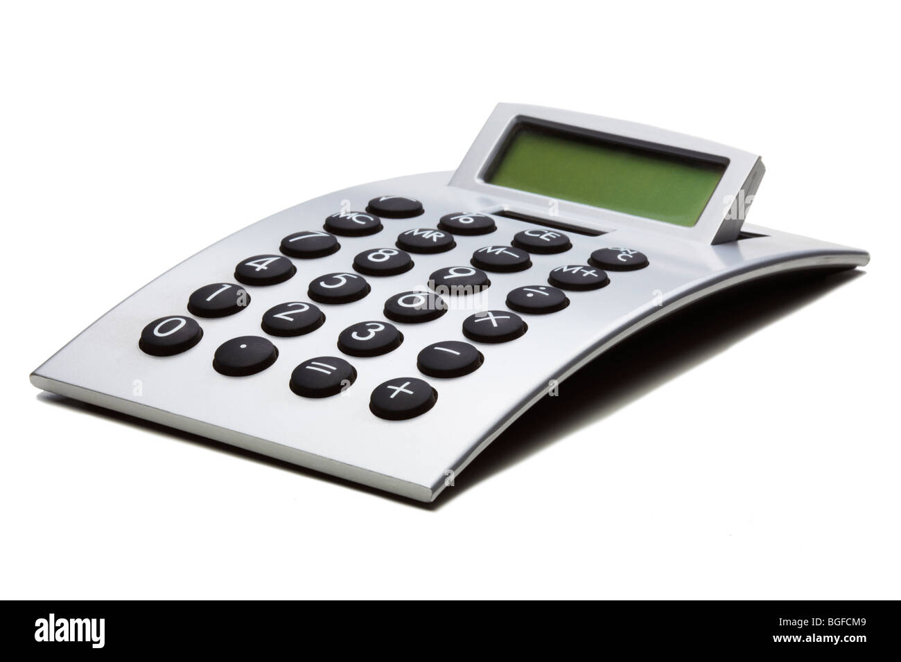 Silver Curved Calculator - Stock Image