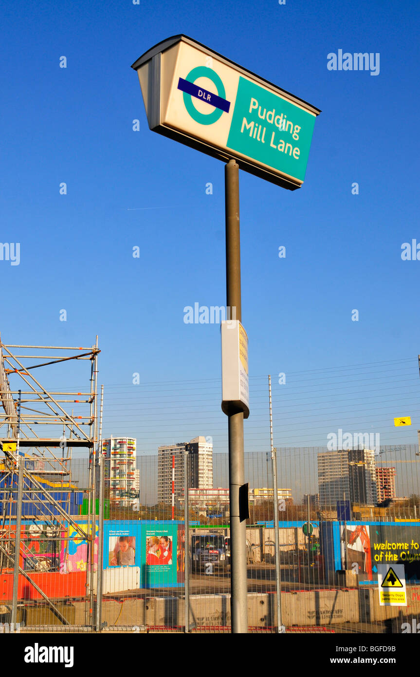 Pudding Mill Lane DLR Station, situated next to the 2012 Olympic site, Stratford, London, England, UK - Stock Image