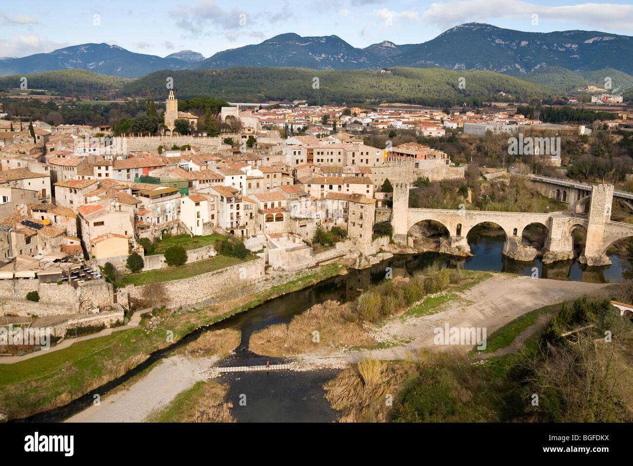 besalu town and bridge, aerial view - Stock Image
