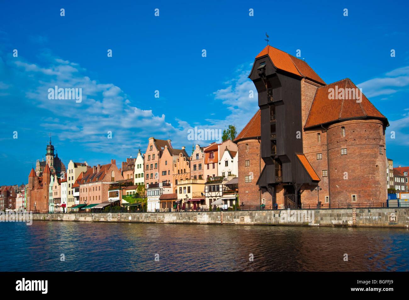 Historic crane gate and old town of Gdansk   Krantor Danzig Altstadt - Stock Image