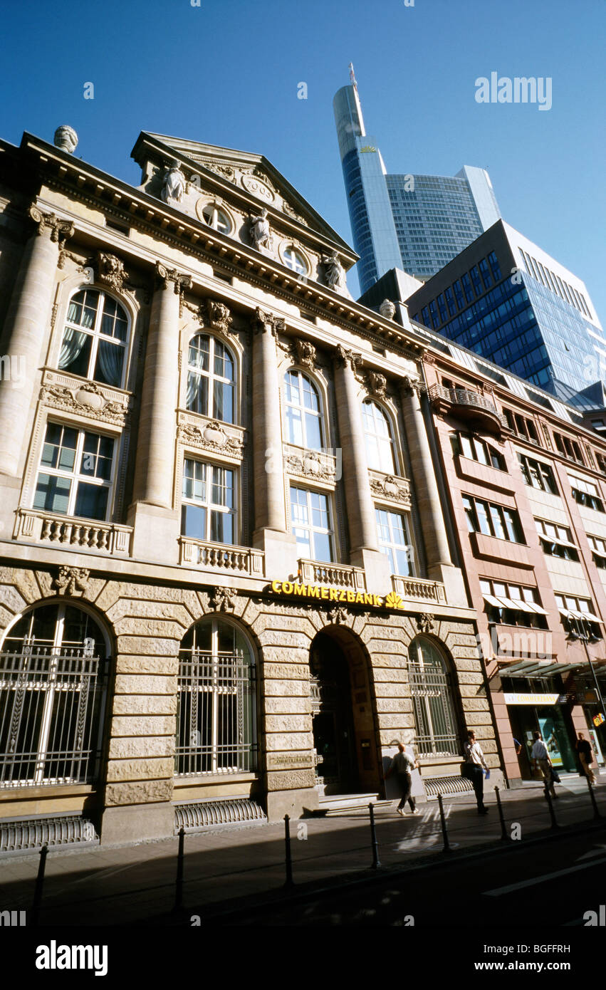 Aug 7, 2009 - Branch of Commerzbank in front of Commerzbank Tower in the German city of Frankfurt. Stock Photo