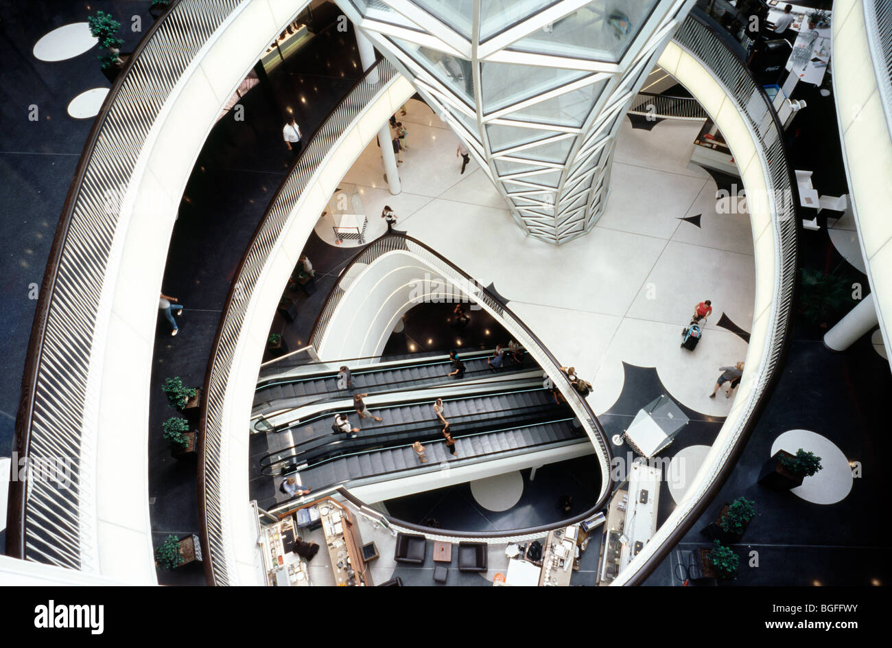 Interior view of MyZeil shopping mall as part of the Palais Quartier in the German city of Frankfurt. - Stock Image